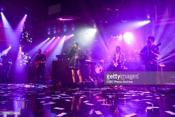 The Late Show with Stephen Colbert and musical guest Kacey Musgraves during Monday's October 18, 2021 show.