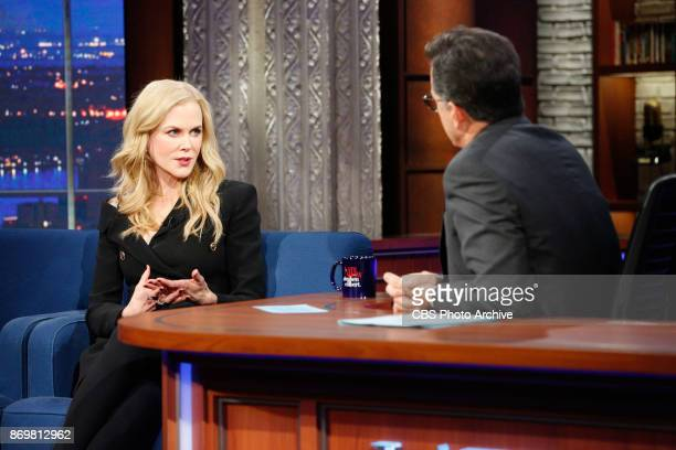 The Late Show with Stephen Colbert and Nicole Kidman during Wednesday's November 1 2017 show in New York