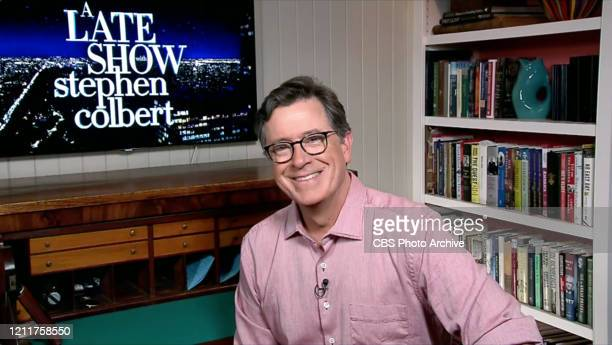 The Late Show with Stephen Colbert during Thursday's April 30, 2020 show. Photo is a screen grab.