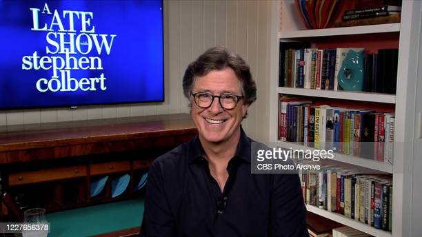 The Late Show with Stephen Colbert during Tuesday's July 14, 2020 show. Image is a screen grab.