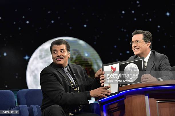 The Late Show With Stephen Colbert For the 6/22/2016 broadcast Neil Degrasse Tyson explains to host Stephen Colbert The woman in the moon during...