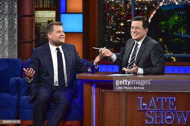The Late Show with Stephen Colbert Stephen Colbert talks with guest James Corden who will host the 2016 Tony Awards on Sunday June 12