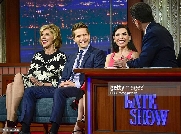 """The Late Show With Stephen Colbert, The cast of the CBS drama series """"The Good Wife"""": Julianna Margulies, Matt Czuchry and Christine Baranski from..."""
