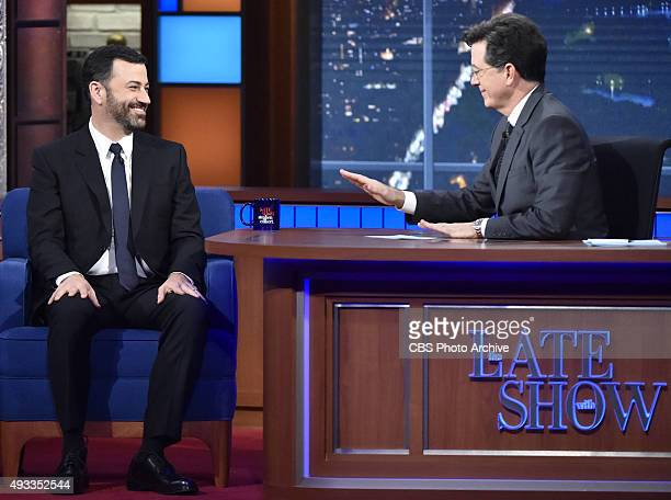 The Late Show with Stephen Colbert with Jimmy Kimmel as his guest on Friday's 10/16/15 show in New York