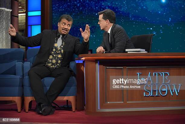 The Late Show with Stephen Colbert with Neil deGrasse Tyson during Wednesday's 11/9/16 show in New York