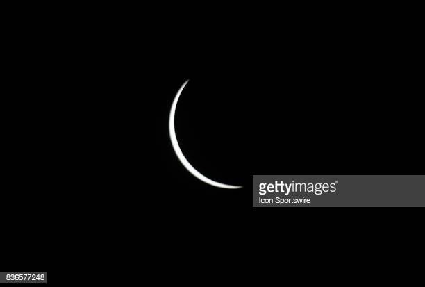The late stage of the partial phase during a total eclipse of the sun on August 21 as viewed from the Cohen Recreation Center in Chester IL