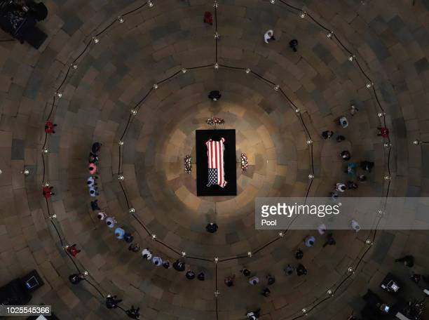 The late US Sen John McCain RAriz lies in state in the US Capitol Rotunda on August 31 in Washington DC The late senator died August 25 at the age of...