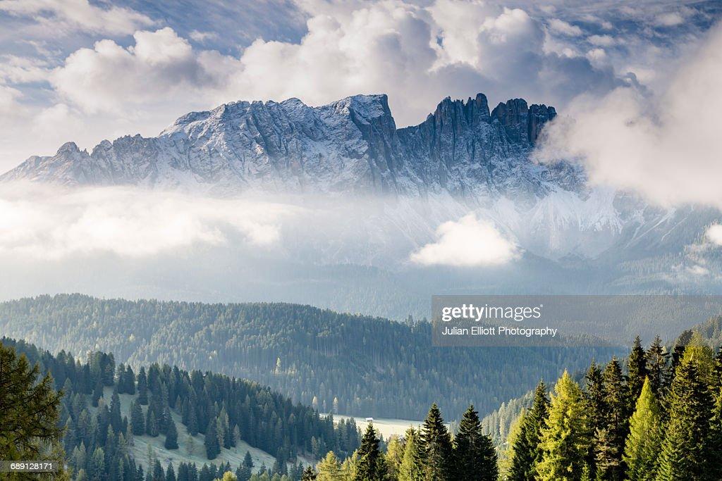 The Latemar range in the Dolomites, Italy. : Stock Photo