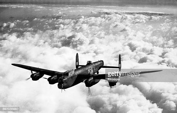 The latest Avro Lancaster III bomber plane, fitted with Merlin 28 engines, pictured during the Second World War. April 1944.