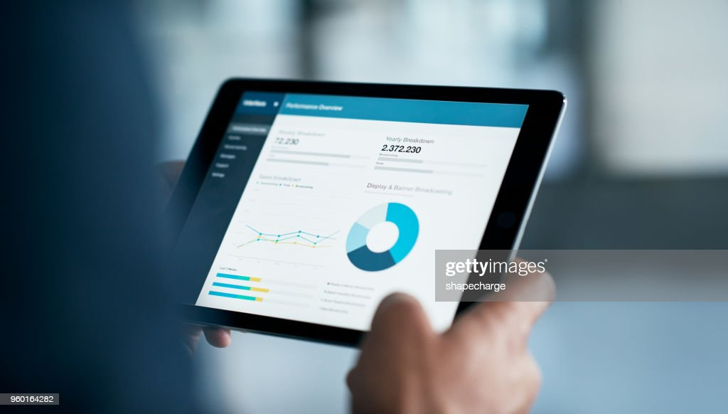 The latest business reports are in : Stock Photo