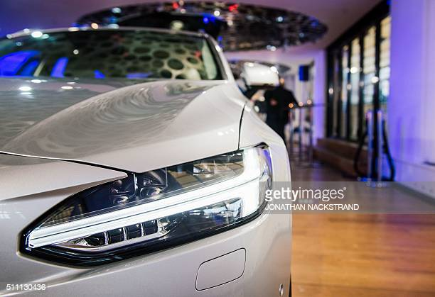 The latest car model Volvo V90 Estate is displayed after a presentation of the company`s financial report for 2015 in the Volvo show rooms in...