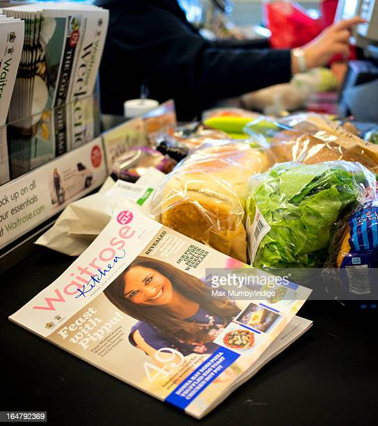 The latest edition of Waitrose Kitchen Magazine featuring Pippa Middleton on the cover seen on a till conveyor belt in a Waitrose store on March 28...