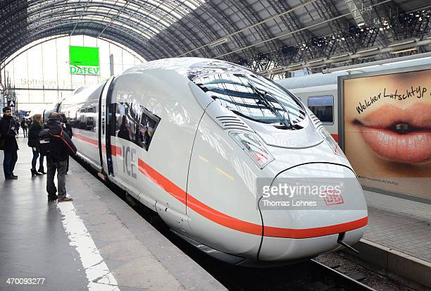 The latest generation of the ICE 3 Deutsche Bahn highspeed train version 407 stands during a media presentation at the main station on February 18...