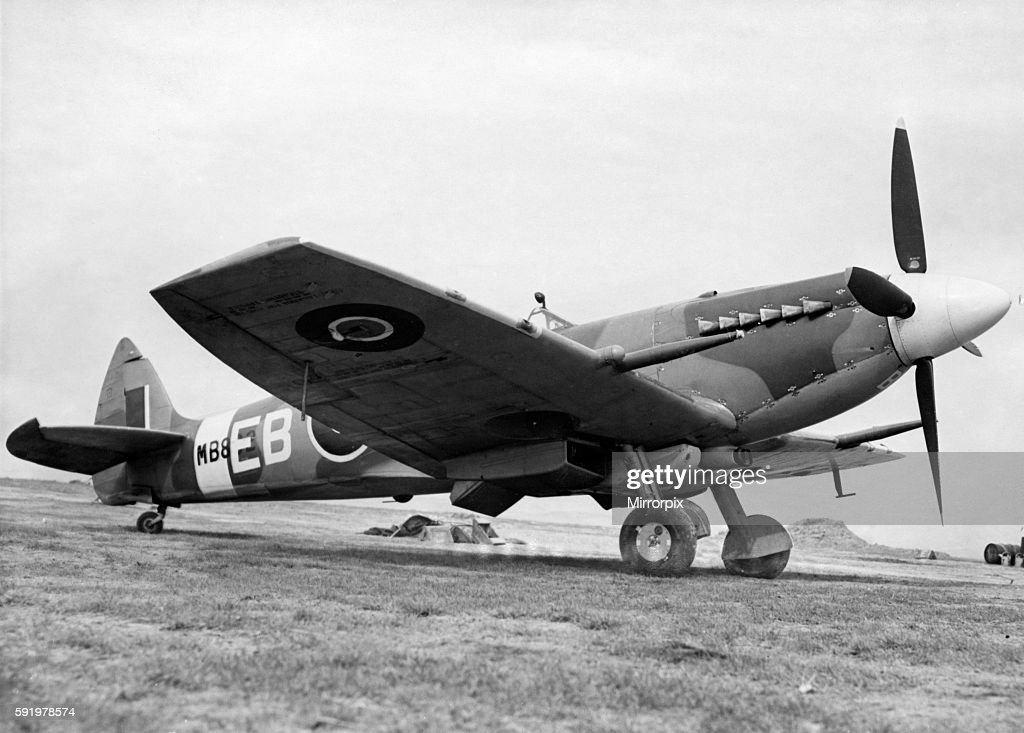 The latest Spitfire fighter plane Mark XII which is fitted