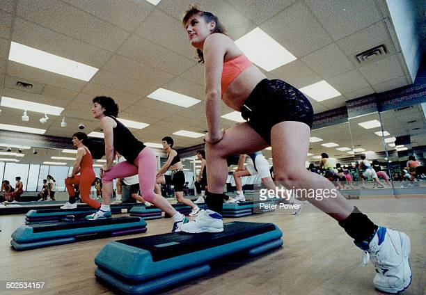 The latest theme in the club scene is step classes using a rectangular platform national aerobics champion Sheryl Fieldstone right leads a step class...