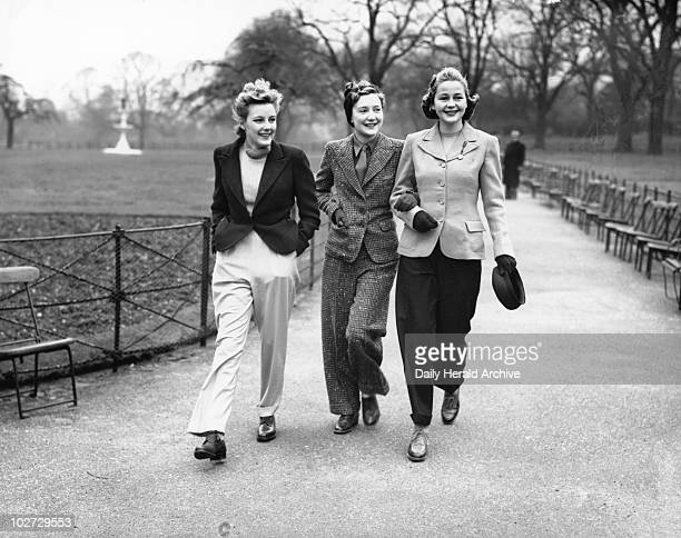 The latest trouser and jacket fashions 1939 The latest trouser and jacket fashions for women being modelled in Hyde Park 29 January 1939 Photograph...