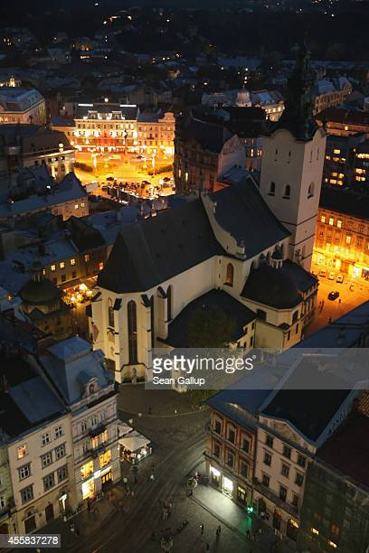 The Latin Cathedral stands in the old city center at night near Rynok Square on September 15, 2014 in Lviv, Ukraine. Lviv, which is located in...