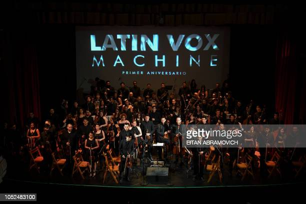 The Latin Vox Machine orchestra performs at a theater in Buenos Aires on October 09 2018 Latin Vox Machine is an orchestra of Venezuelan academic...