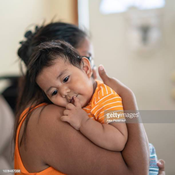 the latino mexican-american mother with son, a little boy - mexican ethnicity stock pictures, royalty-free photos & images