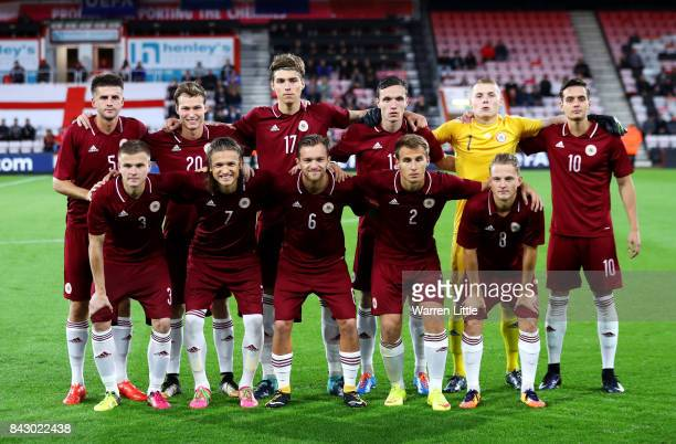 The Latvia team ahead of the UEFA Under 21 Championship Qualifiers between England and Latvia at Vitality Stadium on September 5 2017 in Bournemouth...
