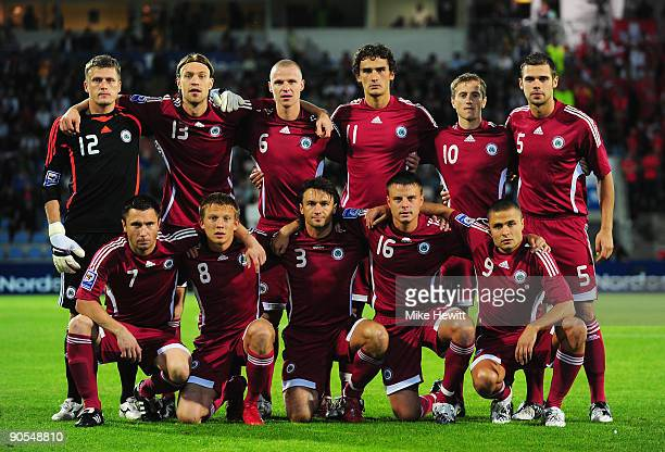 The Latvia team pose for a team photo prior to the FIFA 2010 World Cup Group 2 Qualifier between Latvia and Switzerland at the Skonto stadium on...