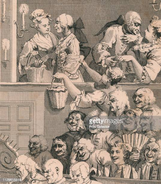 'The Laughing Audience' Scene in a theatre men and women flirting and the audience reacts to the play Metal spikes separate them from the orchestra...