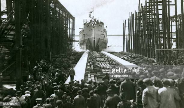 The launch of HIJMS Kongo at the Vickers Shipbuilding Company in BarrowinFurness on 18th May 1912 by Madame Koike the wife of the First Secretary of...