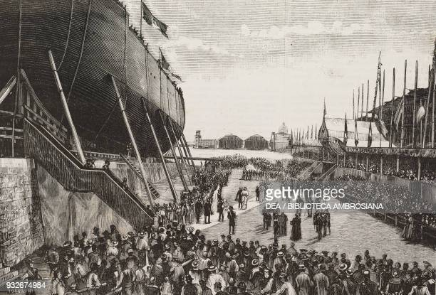 The launching ceremony for the SS Amerigo Vespucci July 31 Venice Veneto Italy illustration from the weekly Rivista Illustrata No 190 August 20 1882