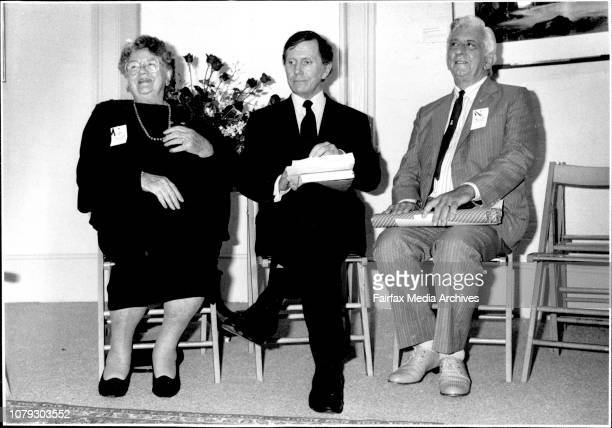 The launching of Ron Horan's book 'Fort Street' at the ER Erwin Gallery Nance Irvine Justice Michael Kirby Ron Horan March 29 1990