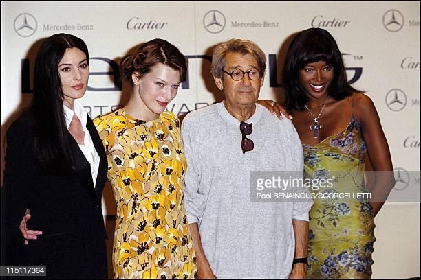 The Laureus sports awards in Monaco City, Monaco on May 24, 2000 - Monica Bellucci, Milla Jovovich, Helmut Newton, Naomi Campbell.