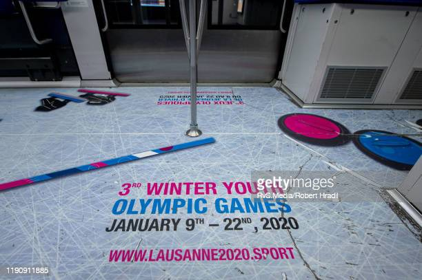 The Lausanne Transport metro is covered with the logos and mascot Yodli on December 28 2019 in Lausanne Switzerland The 2020 Winter Youth Olympic...