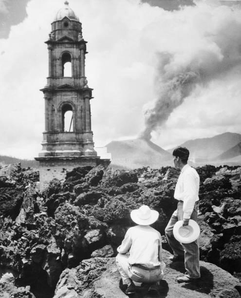 The lava from Mount Paricutin, 'El Monstre', flowing...