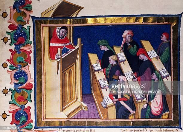 The lawyer Anthonio da Budrio and his pupils miniature from manuscript 569 folio 1 Italy 14th15th century Rome Biblioteca Angelica
