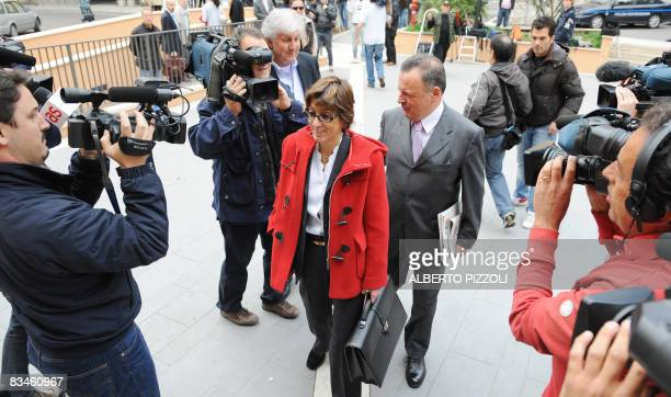The lawyer of defendant Raffaele Sollecito Giulia Buongiorno and Luca Mauri arrive on October 28 2008 at the courthouse in the central Italian city...