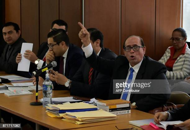 The lawyer of Ecuador's suspended Vice President Jorge Glas Eduardo Franco speaks before a hearing where the prosecutor's office will decide if it...
