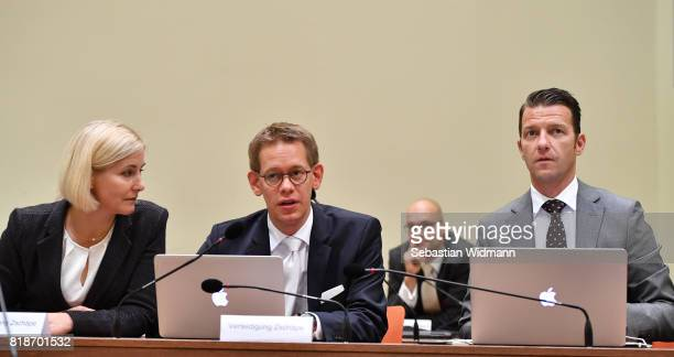 The lawyers Anja Sturm Wolfgang Heer and Wolfgang Stahl arrive in court on the day federal prosecutor's will present their pleas on July 19 2017 in...
