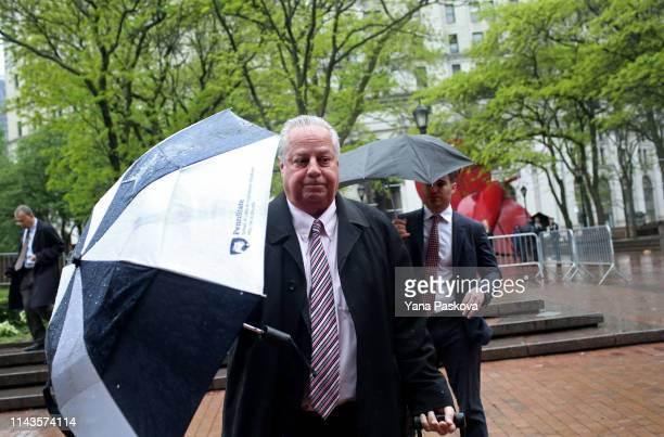 The lawyers for Officer Daniel Pantaleo enter One Police Plaza before his trial on May 13 2019 in New York City Officer Pantaleo faces charges of...