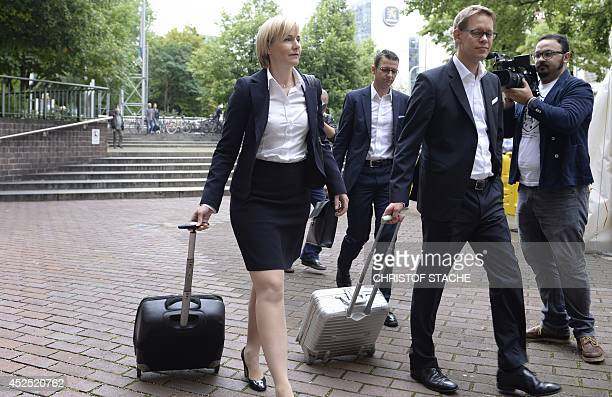 The lawyers of Beate Zschaepe Anja Sturm and Wolfgang Heer arrives ahead of another session of the trial in the court room in Munich southern Germany...