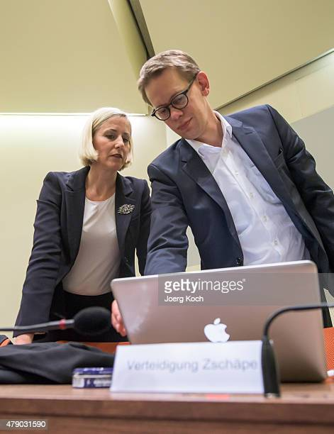 The lawyers of Codefendant Beate Zschaepe Wolfgang Heer and Anja Sturm prepare for another day of the NSU neoNazi murders trial on June 30 2015 in...