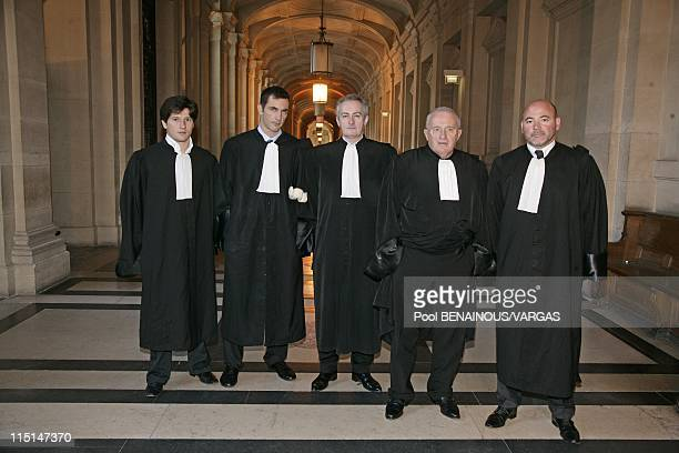 The lawyers of Yvan Colonna in Paris France on November 22 2007 Trial for the murder of prefect Erignac Lawyers of Yvan Colonna Paul Sollacaro Gilles...