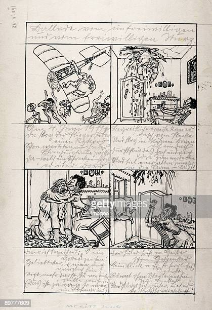 The lay of intentionally and unintentionally fall Draft for a Wiener Werkstaette sheet of pictures Pencil and Indian ink 1907