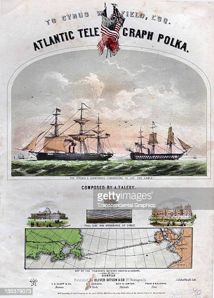 The laying of the telegraphic cable that spanned the Atlantic Ocean is celebrated in this song with a lithographic cover including a map published in...