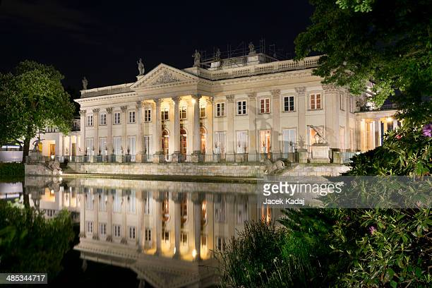 The Lazienki palace in Lazienki Park at night