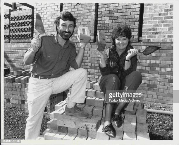 The Lazy gardener Don Burke and Sons and Daughter star Leila Hayes at the Australbrick plant in Epping today. May 08, 1987.