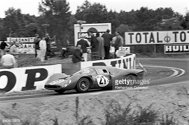 The Le Mans 24 Hours; Le Mans, June 10-11, 1967. The Ferrari 330P4 of Ludovico Scarfiotti/Mike Parkes rounds Mulsanne corner on its way to second...