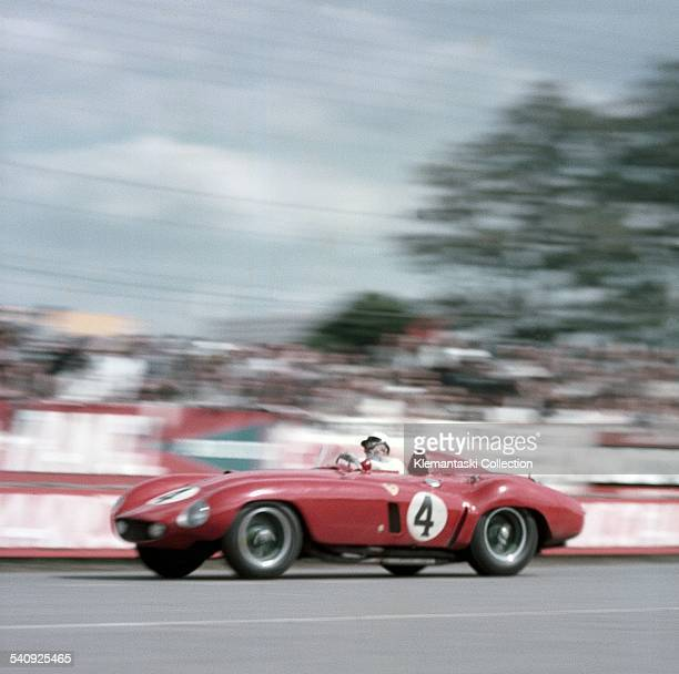 The Le Mans 24 Hours Le Mans June 1112 1955 Eugenio Castellotti at speed in Dunlop Curve with his Ferrari 121LM