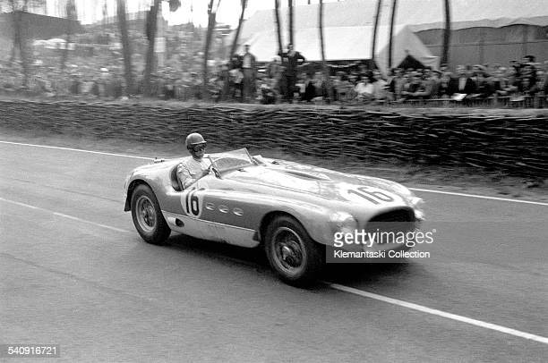 The Le Mans 24 Hours Le Mans June 1314 1953 Tom Cole leaves the Esses in his Ferrari 340MM which he shared with Luigi Chinetti They ran in the top...