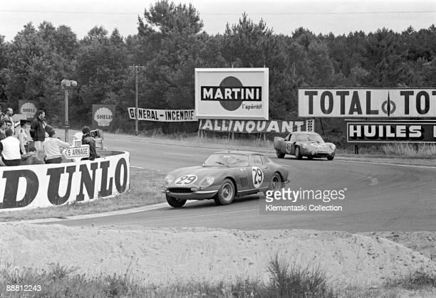 The Le Mans 24 Hours Le Mans June 1819 1966 Through Mulsanne Corner run the Ferrari 275GTB/C of Giampiero Biscaldi and Michel de Bourbon Parme...
