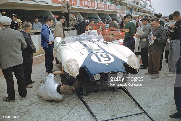 The Le Mans 24 Hours; Le Mans, June 20-21, 1959. Before the race some preparations are being made to the Ferrari 250TR to be driven by americans E....