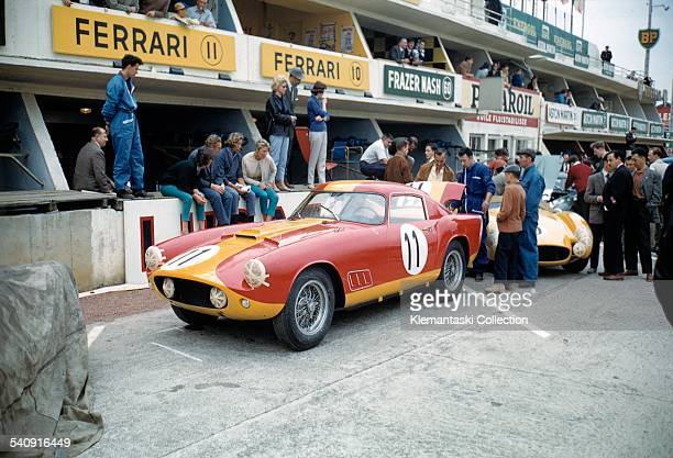 The Le Mans 24 Hours Le Mans June 2021 1959 Before the start the Ferrari 250 Tour de France entered by Equipe Nationale Belge waits in the pits It...